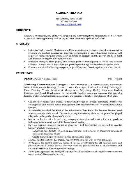 marketing resume objective statement 5 sles of marketing resume objective statements free