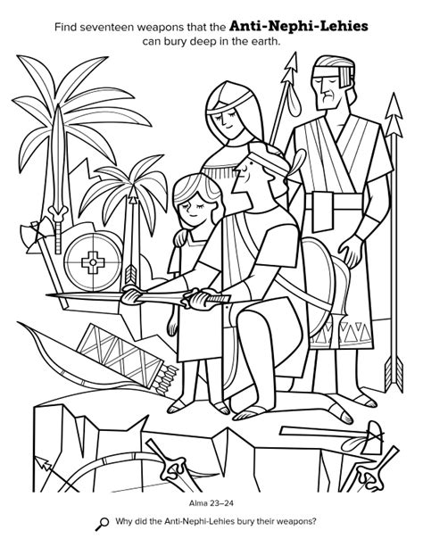 lds coloring pages lehi anti nephi lehies bury their weapons