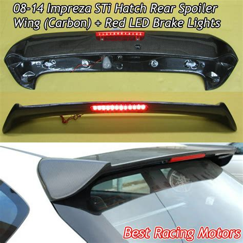 2008 wrx roof spoiler sti style roof spoiler wing carbon led fits 08 14