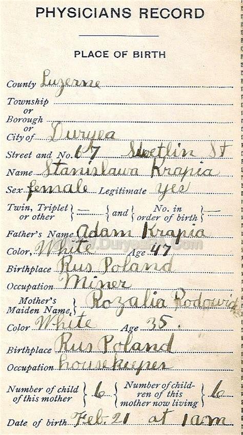Birth Records Pa Duryea Pennsylvania Historical Homepage Wanda 1910 To 1931 Birth Records Page