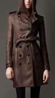 burberry leather quilted sleeve trench coat in brown