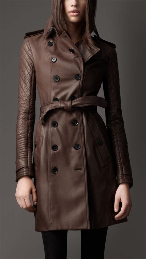 lyst burberry long leather quilted sleeve trench coat
