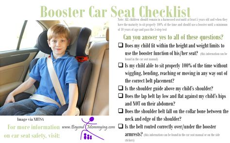 when can a child be in a booster seat car seat safety checklists for proper car seat use