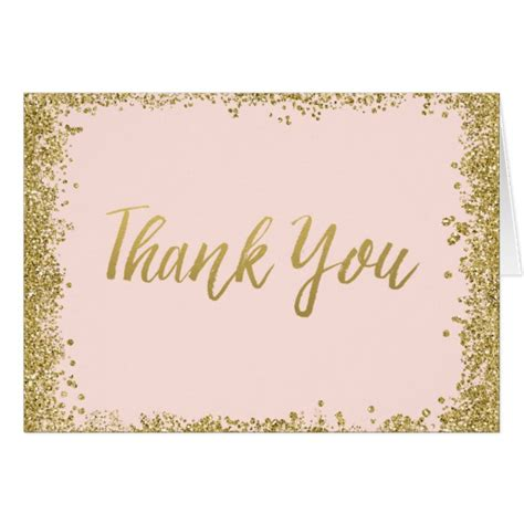 Zazzle Thank You Cards blush pink gold glitter thank you card zazzle