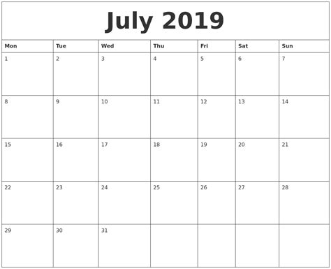 printable monthly calendar monday start july 2019 monthly printable calendar