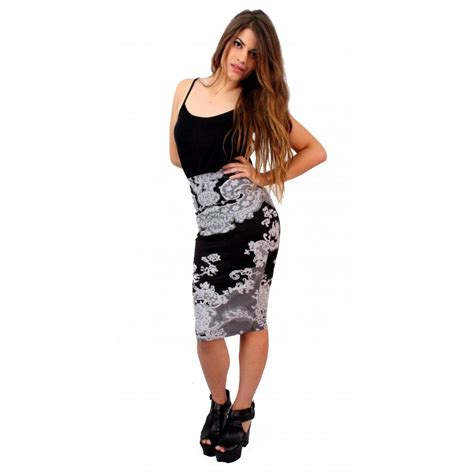 floral damask printed midi skirt from parisia