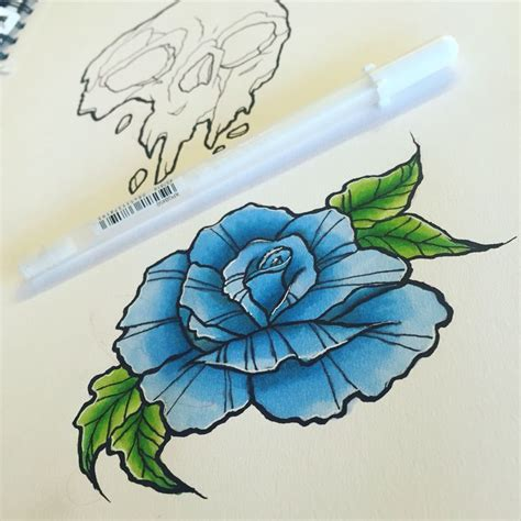 neo traditional blue rose tattoo design ideas