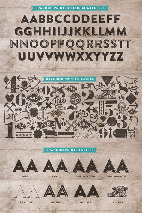 printed looking font brandon printed vintage and wild west font