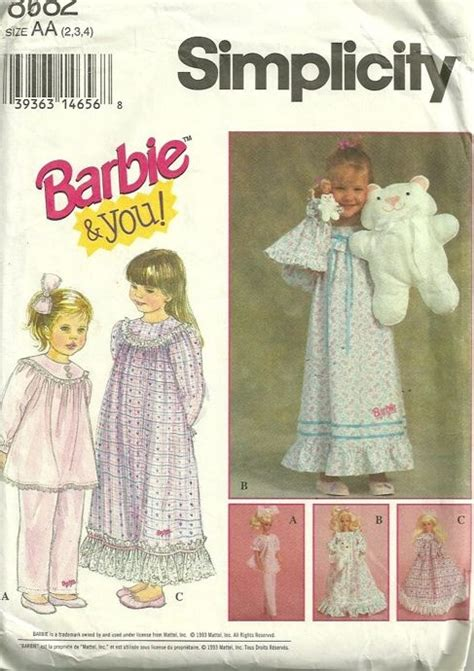 picture sewing pinterest patterns and dolls barbie and you pattern nightgown pajamas and hairbow with