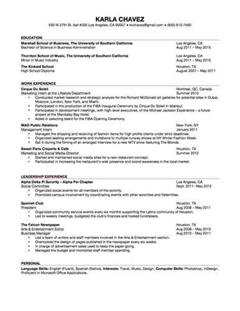 Resume Exles Business Student Undergraduate College Student Resume Related