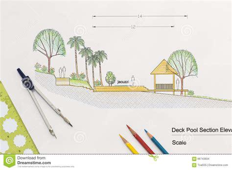 Landscape Arch Elevation Architecture Design Deck Pool Section Elevation Stock