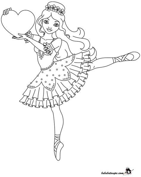 Coloriage, danseuse avec un cœur - Lulu la taupe, jeux