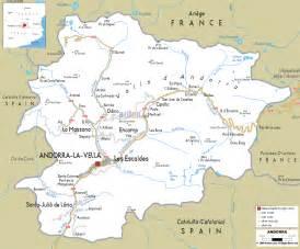 andorra on a map road map of andorra ezilon maps