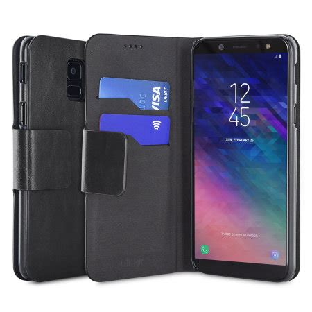 p samsung a6 olixar leather style samsung galaxy a6 2018 wallet stand black