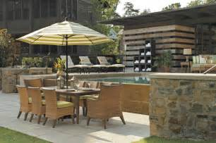 Patio F Outdoor Dining Set With Patio Umbrella Wicker Chairs In N