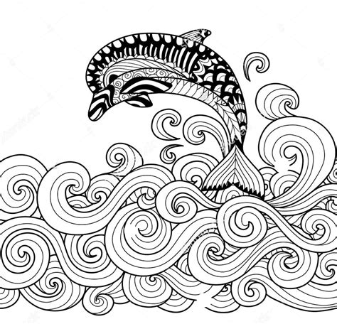 dolphin coloring book zentangle dolphin vector coloring page coloring