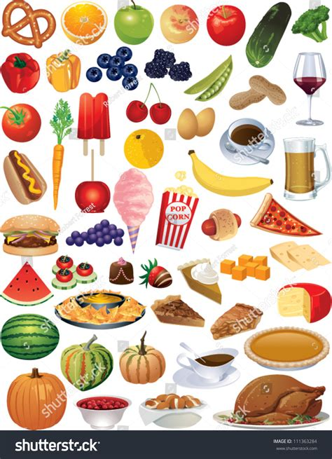 images of food collection vector food items stock vector 111363284