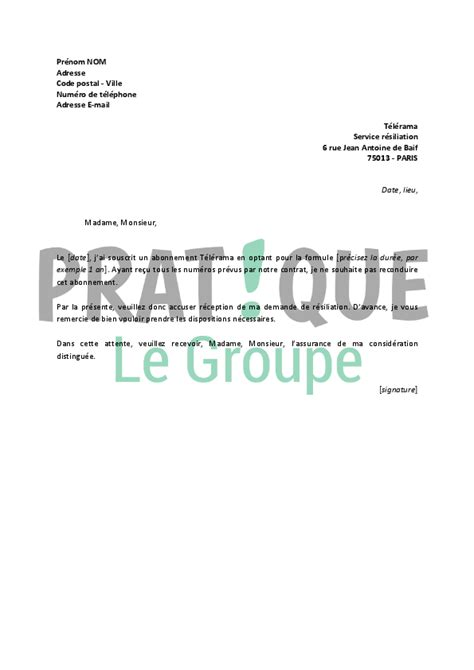 Modèles De Lettres Administratives Pdf Lettre De R 233 Siliation T 233 L 233 Rama Pratique Fr