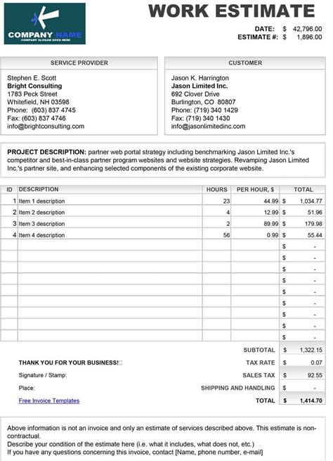 bid free 44 free estimate template forms construction repair