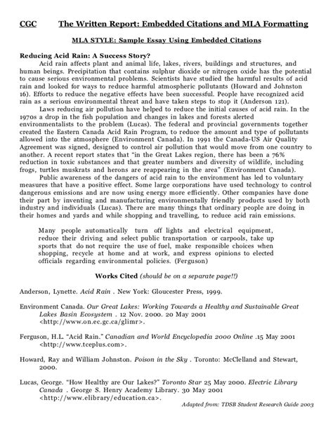 Exles Of Essays With Citations by Mla Sle Essay
