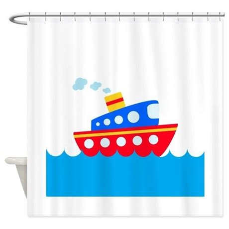 red white and blue shower curtains blue and red boat shower curtain by beachbumming