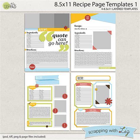 home business card template 8 5x11 ai digital scrapbook templates 8x11 recipe page 1