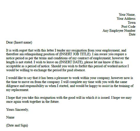 resignation letter sle with notice period formal resignation with unknown notice gif