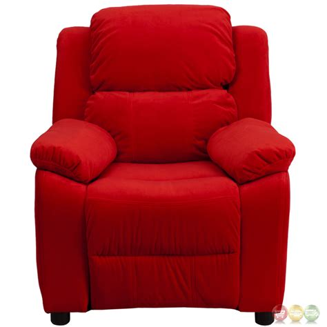 red microfiber recliner deluxe heavily padded contemporary red microfiber kids