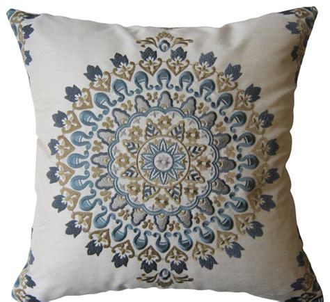 blue and exquisite embroidered medallion pillow