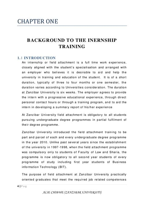 work experience report template field attachment report alie chibwe