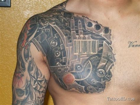 biomechanical chest tattoo designs chest images designs