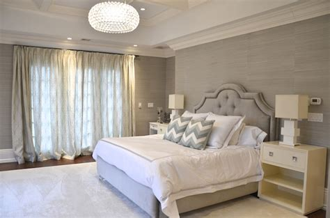 grey wallpaper master bedroom gray grasscloth contemporary bedroom d2 interieurs