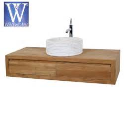 meuble de salle de bain suspendu en teck 120 cm cube