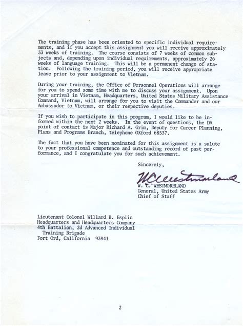 appointment letter army appointment letter from general william westmoreland