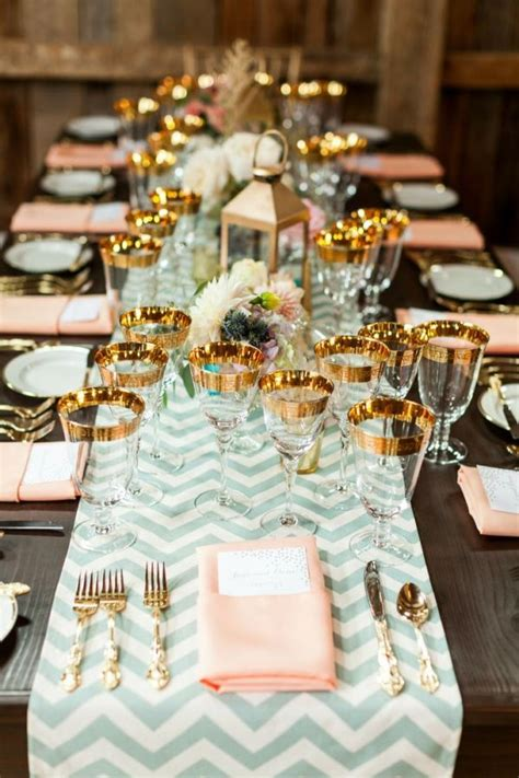 stunning round table setting beautiful wedding mint peach and gold tablescape b