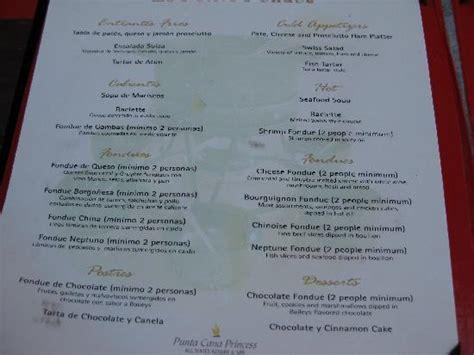 blue room menu foto de punta cana princess all suites resort spa punta cana fondue menu tripadvisor