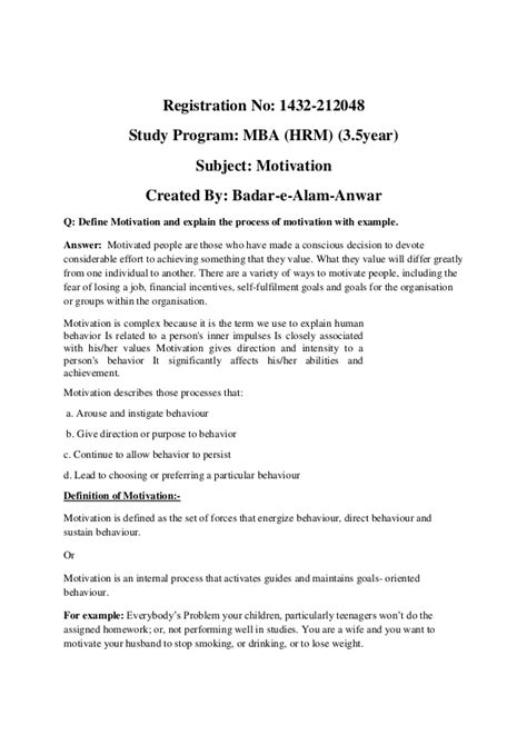 Self Study Mba Degree by Motivation Assignment 1
