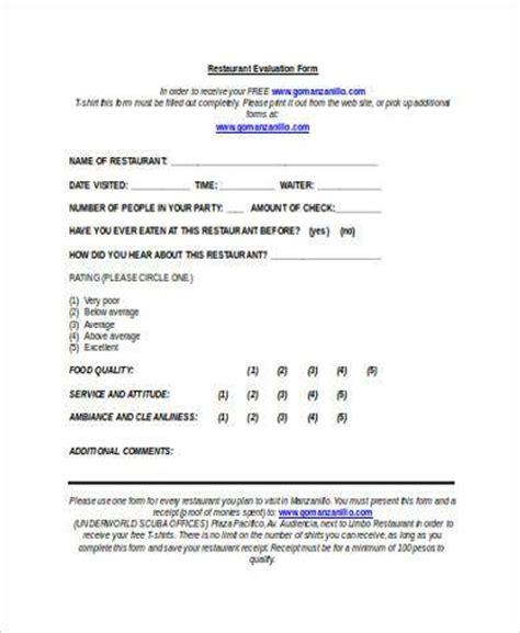 Sle Resume Restaurant Feedback Form Template Format For Feedback Form 100 Images Evaluation Form Evaluation Form Sle 7 Feedback Form