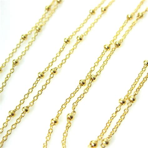 beading chain 22k gold plated sterling silver chain satellite chain