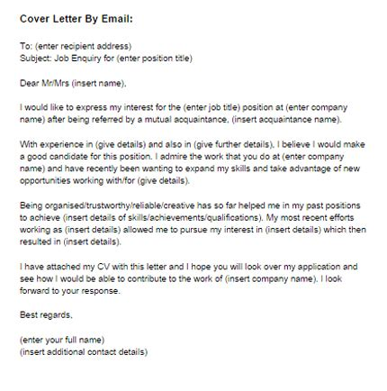best sle email cover letter cover letter templates