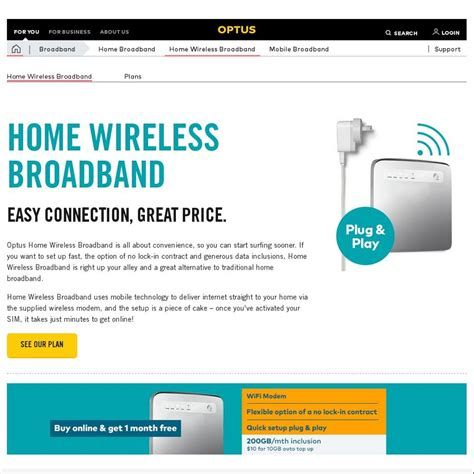 optus wireless broadband 200gb 4g network from 60 mth