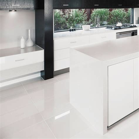 super white high gloss rectified porcelain floor tiles