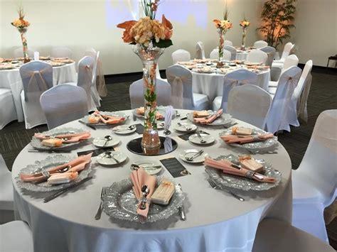 Peach and silver wedding decor   Sunset Room Weddings