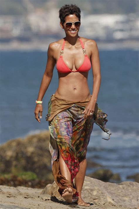 what 45 year old women wear to beavh halle berry 45th birthday on a beach in a bikini gossipmad