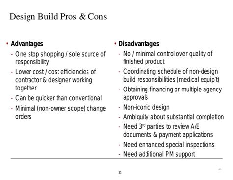 Design And Build Contract Pros And Cons | generic comparing different construction delivery