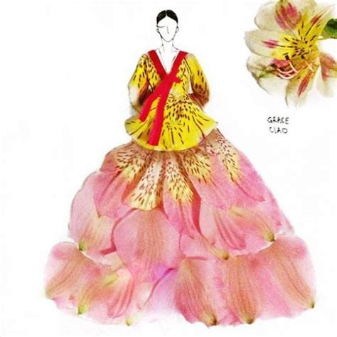 fashion illustrator grace ciao creates designs using real flower petals and other garden