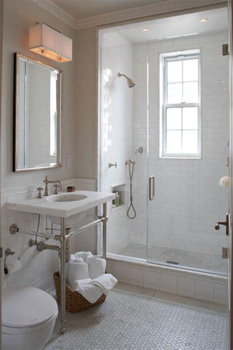 marble herringbone floor tiles transitional bathroom