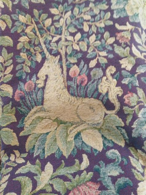 tapestry upholstery fabric online 2 yds medieval sca unicorn animals purple tapestry fabric