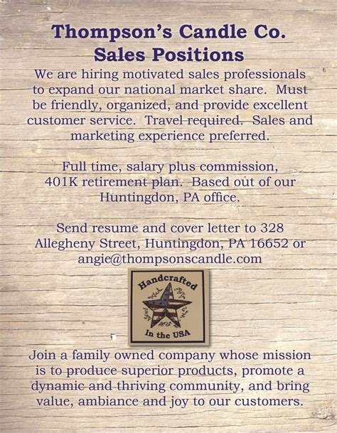 s thompson cover letter opportunities