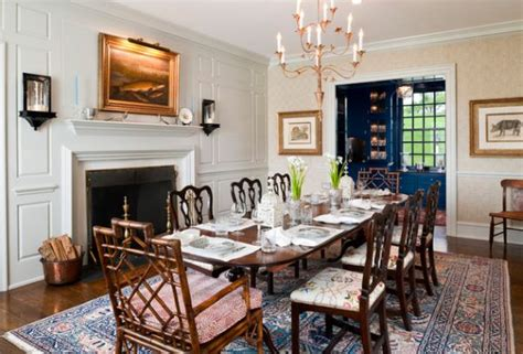 Dining Room Ideas With Fireplace Farmhouse Style Dining Room With Traditional Fireplace
